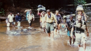 Hike with nurses and porters to isolated Pygmee villages